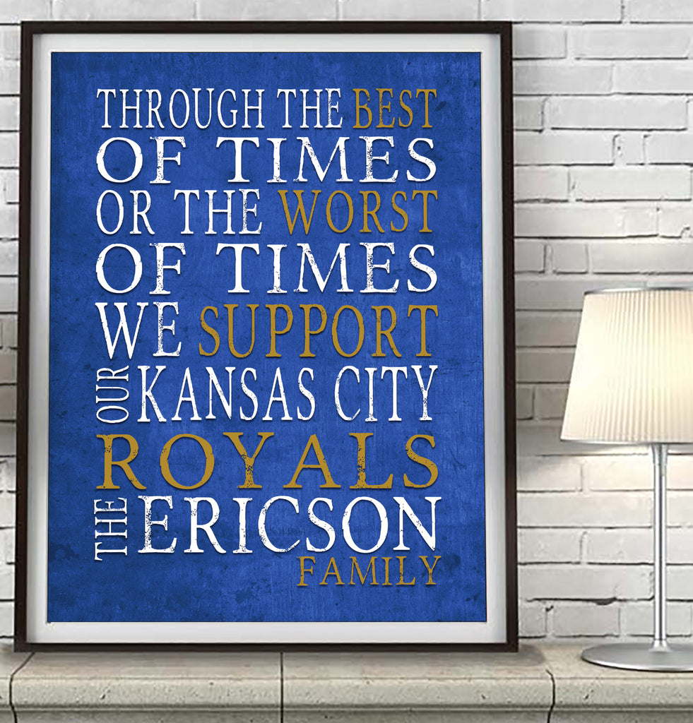 "Kansas City Royals Personalized ""Best of Times"" Art Print Poster Gift"