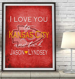 "Kansas City Chiefs ""I Love You to Kansas City and Back"" Art Print Poster Gift"