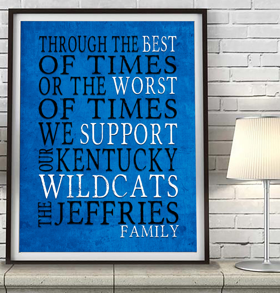 "Kentucky Wildcats Personalized ""Best of Times"" Art Print Poster Gift"