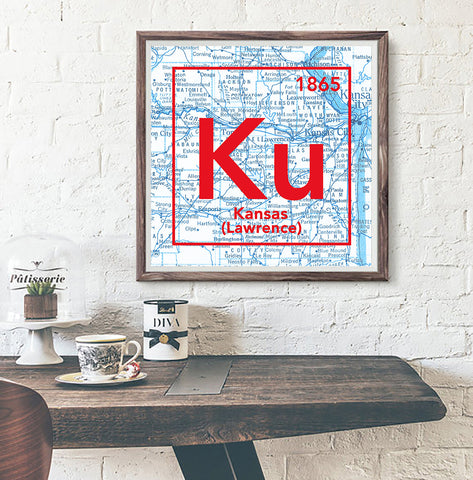 Kansas Jayhawks- University of Kansas Lawrence -Vintage Periodic Map ART PRINT -Unframed