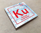 Kansas Jayhawks- Periodic Map art print on Wooden Block