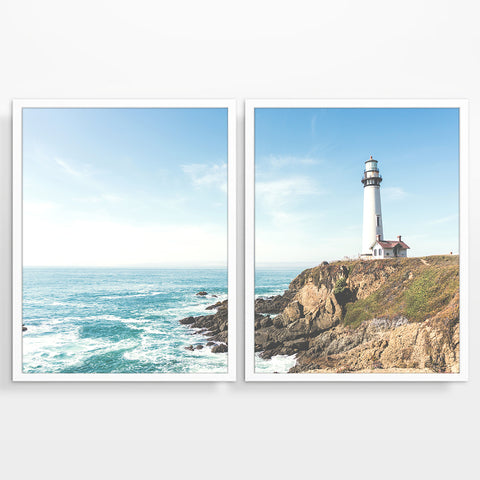 Seascape Lighthouse Photography Prints, Set of 2, Coastal Wall Decor