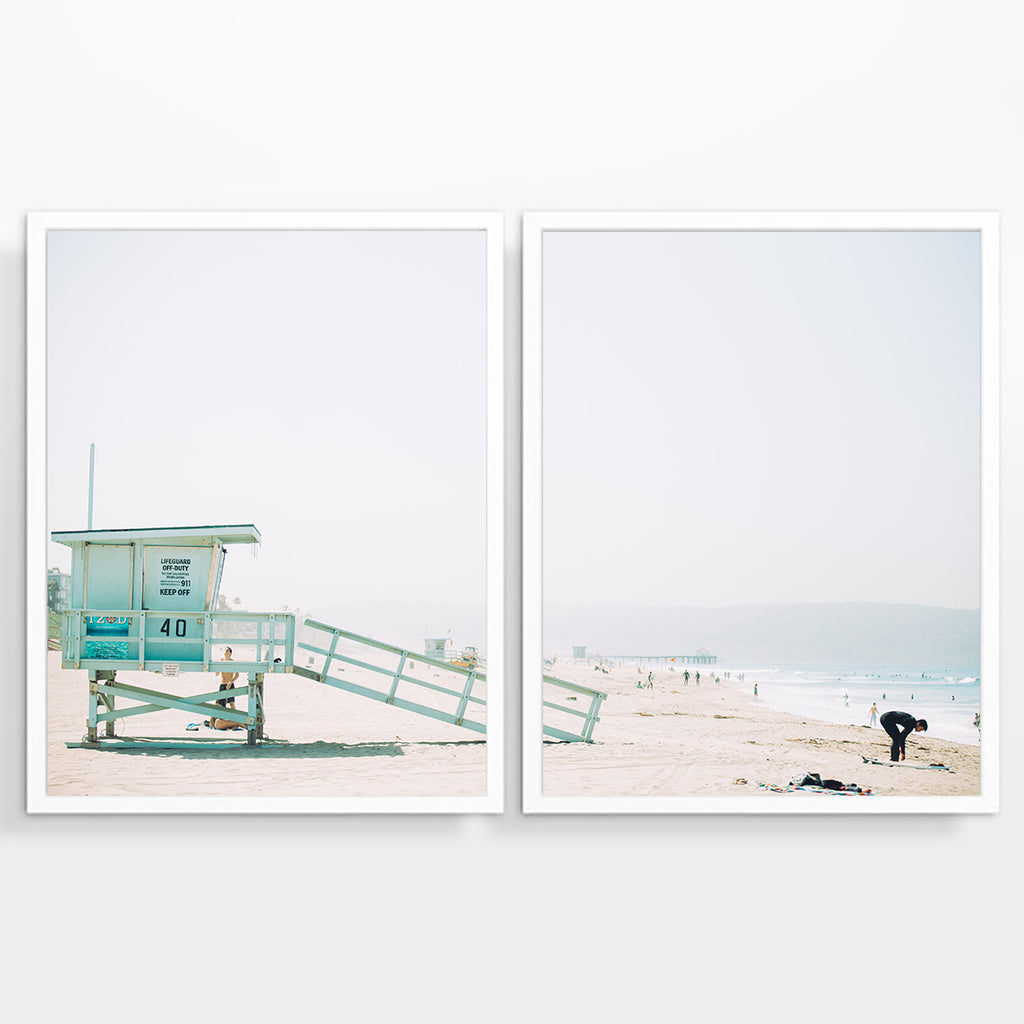 Surfer and Lifeguard Photography Prints, Set of 2, Coastal Surfing Wall Decor