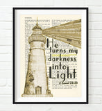 He turns my darkness into Light - 2 Samuel 22:29 Bible Page Christian ART PRINT