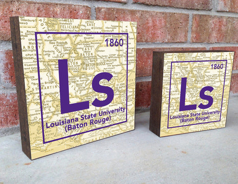 LSU Tigers- Periodic Map art print on Wooden Block