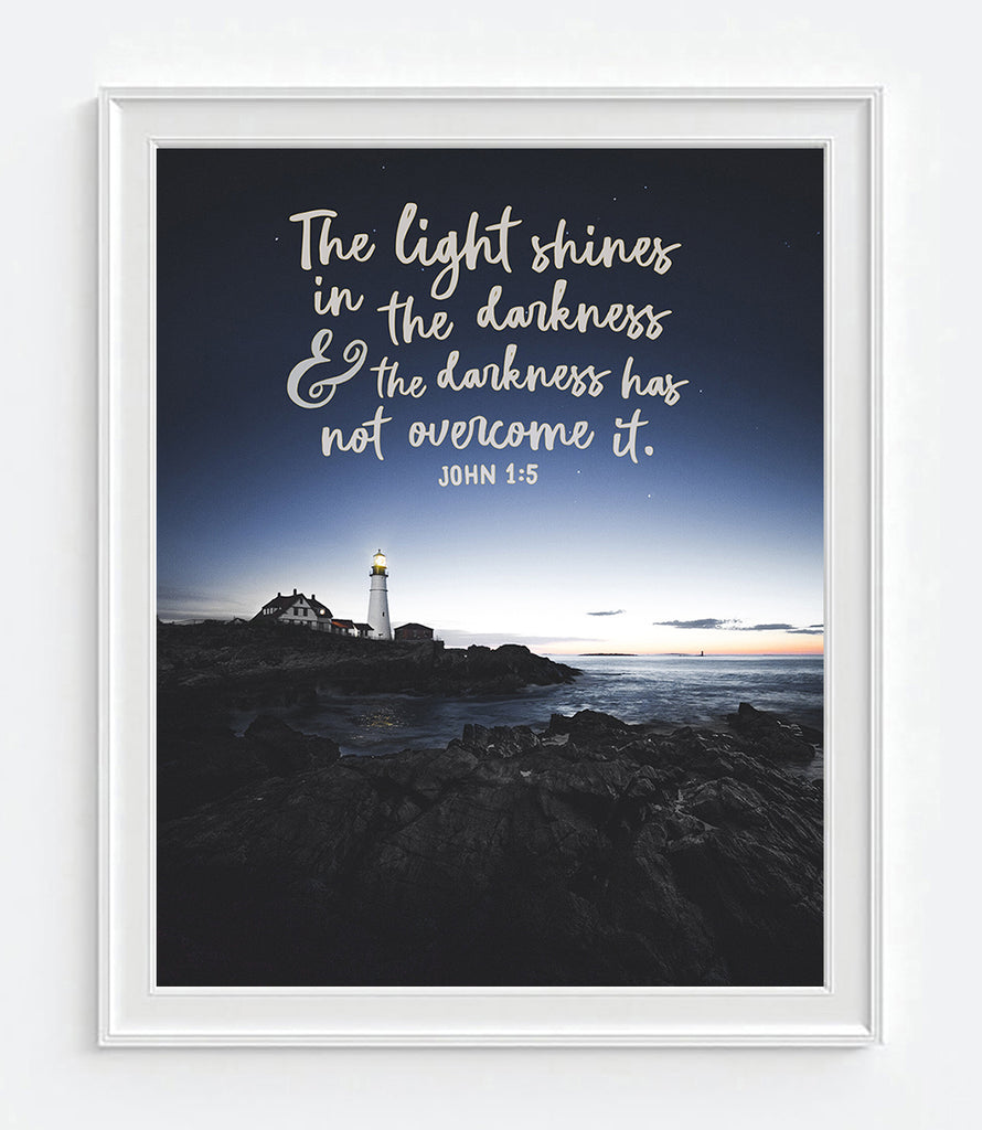 The Light Shines in the Darkness - John 1:5 Bible Verse Photography Print