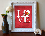 "Louisville Cardinals ""Love"" ART PRINT, Sports Wall Decor, man cave gift for him, Unframed"