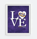 "LSU Louisiana State University Tigers inspired ""Love"" ART PRINT, Sports Wall Decor, man cave gift for him, Unframed"