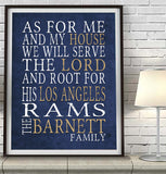 "Los Angeles Rams Personalized ""As for Me"" Art Print"