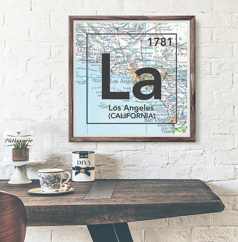 Los Angeles California La- Vintage Periodic Map ART PRINT- unframed