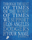 "Los Angeles Dodgers Personalized Customized Art Print- ""Best of Times"" Parody- Charles Dickens-  Unframed Print"