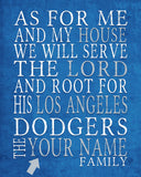 "Los Angeles Dodgers Personalized ""As for Me"" Art Print"