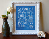 "Los Angeles Dodgers baseball Personalized Art Print- ""As for Me"" Parody-Unframed Print"
