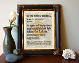 "Los Angeles LA Lakers inspired ""Contentment"" ART PRINT Using Old Dictionary Pages, Unframed"