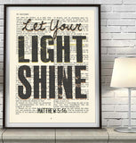 Let your light shine- Matthew 5:16 -Vintage Bible Highlighted Verse Scripture Page- Christian Wall ART PRINT