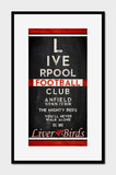 "Liverpool FC Football Club ""Eye Chart"" ART PRINT, Sports Wall Decor, man cave gift for him, Unframed"