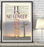 It is no longer I who live - Galatians 2:20 Vintage Bible Page Christian ART PRINT