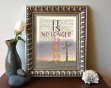 It is no longer I who live - Galatians 2:20 - Vintage Bible Highlighted Verse Scripture Page- Christian Wall ART PRINT