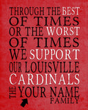 "Louisville Cardinals Personalized ""Best of Times"" Art Print Poster Gift"
