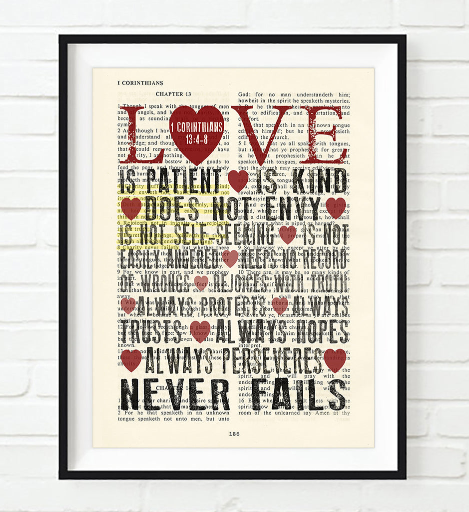Love is Patient Love is Kind - 1 Corinthians 13:4-8 Bible Page ART PRINT