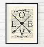 LOVE is Kind- 1 Corinthians 13:4 -Vintage Bible Highlighted Verse Scripture Page- Arrows & Heart Christian Wall ART PRINT