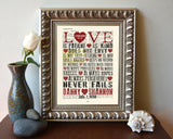 Love is Patient- 1 Corinthians 13:4-8 Personalized Bible Verse ART PRINT