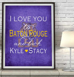 "LSU Tigers personalized ""I Love You to Baton Rouge and Back"" Art Print Poster Gift"