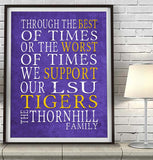 "LSU tigers Louisiana Personalized ""Best of Times"" Art Print Poster Gift"