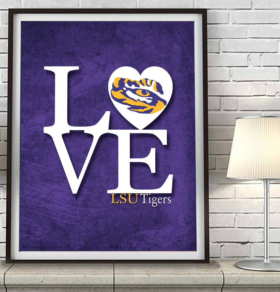 "LSU Louisiana State University Tigers ""Love"" Art Print Poster Gift"