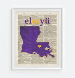 LSU Louisiana State University Tigers Phonics/Phonetic Art Print - Christmas poster gift