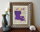LSU Louisiana State University Tigers Inspired Phonics/Phonetic ART PRINT Using Old Dictionary Pages, Unframed