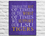 "LSU tigers Louisiana Personalized Customized Art Print- ""Best of Times"" Parody- Charles Dickens-  Unframed Print"