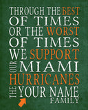 "Miami Hurricanes Personalized Customized Art Print- ""Best of Times"" Parody- Charles Dickens-  Unframed Print"