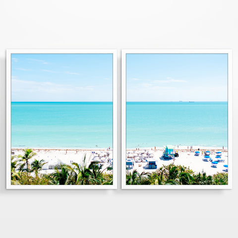 Miami Beach Florida from Above Photography Prints, Set of 2, Coastal Wall Decor