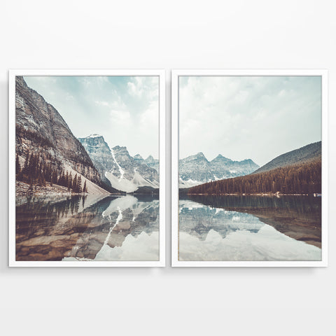 Mountain and Lake Landscape Photography Prints, Set of 2, Moraine Lake Canada