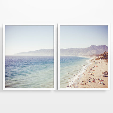 Malibu Beach California Photography Prints, Set of 2, Coastal Wall Decor