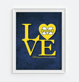 "Michigan Wolverines ""Love"" ART PRINT, Sports Wall Decor, man cave gift for him, Unframed"
