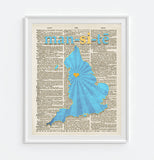 Man City -Manchester City Phonics/Phonetic Art Print - Christmas poster gift