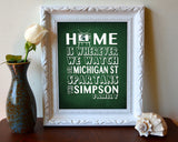 "Michigan State Spartans inspired Personalized Customized Art Print- ""Home Is"" Parody- Unframed Print"