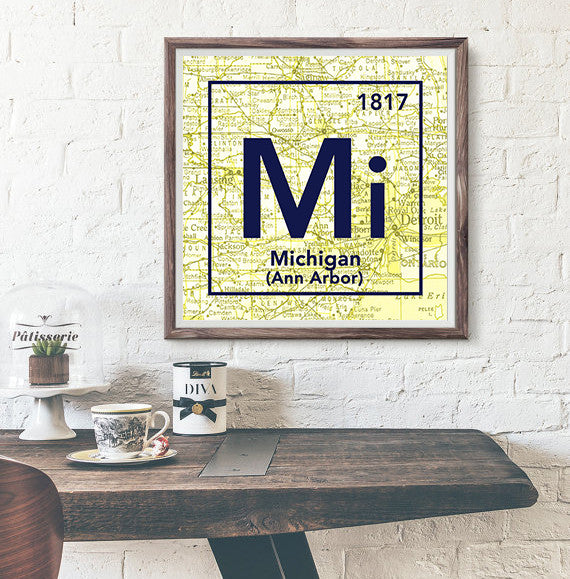 Outstanding Michigan Wolverines University Of Michigan Ann Arbor Periodic Map Art Print Gmtry Best Dining Table And Chair Ideas Images Gmtryco