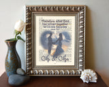 Therefore what God has joined together- Mark 10:9 -Vintage Bible Christian ART PRINT