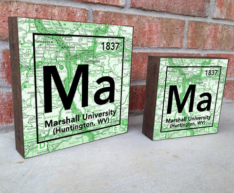 Marshall Thundering Herd- Periodic Map art print on Wooden Block