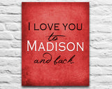"Wisconsin Badgers inspired personalized ""I Love You to Madison and Back"" ART PRINT parody - Unframed"