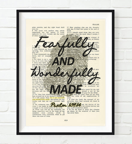 Fearfully and wonderfully made- Psalms 139:24-Vintage Bible Highlighted Verse Scripture Page- Christian Wall ART PRINT