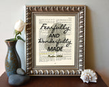 Fearfully and wonderfully made- Psalms 139:24 Bible Page Christian ART PRINT
