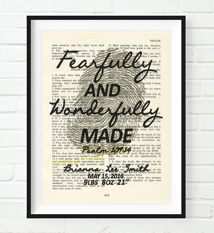 Fearfully and Wonderfully Made- Psalm 139:14 Personalized Vintage Bible Verse ART PRINT