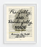 Fearfully and Wonderfully Made -Psalm 139:14 -Personalized Bible Page ART PRINT
