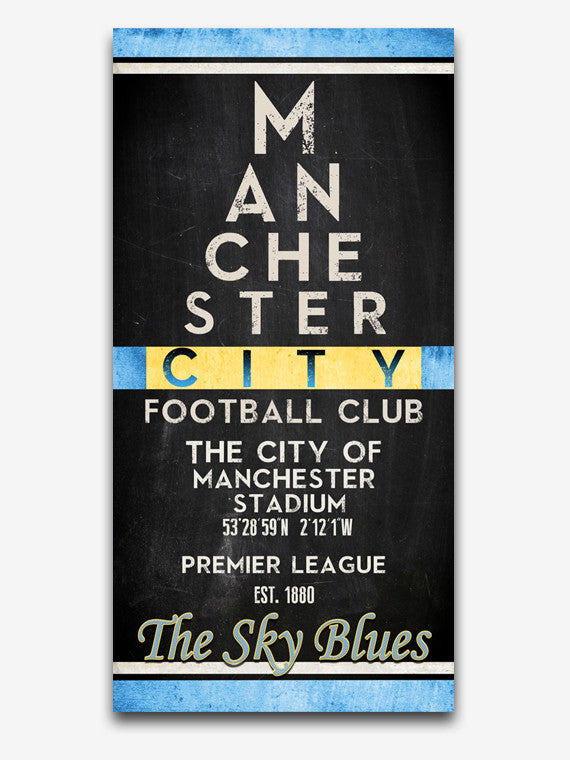 "Manchester City Man City FC Football Club ""Eye Chart"" ART PRINT"