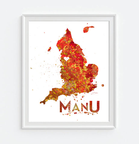 Manchester United FC Watercolor Art Print Poster Gift