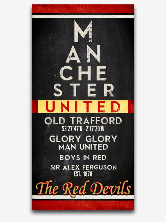 "Manchester United FC Football Club ""Eye Chart"" ART PRINT, Sports Wall Decor, man cave gift for him, Unframed"
